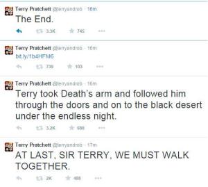 Terry Pratchett Announcement Tweet