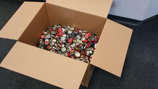 Box of bottle caps