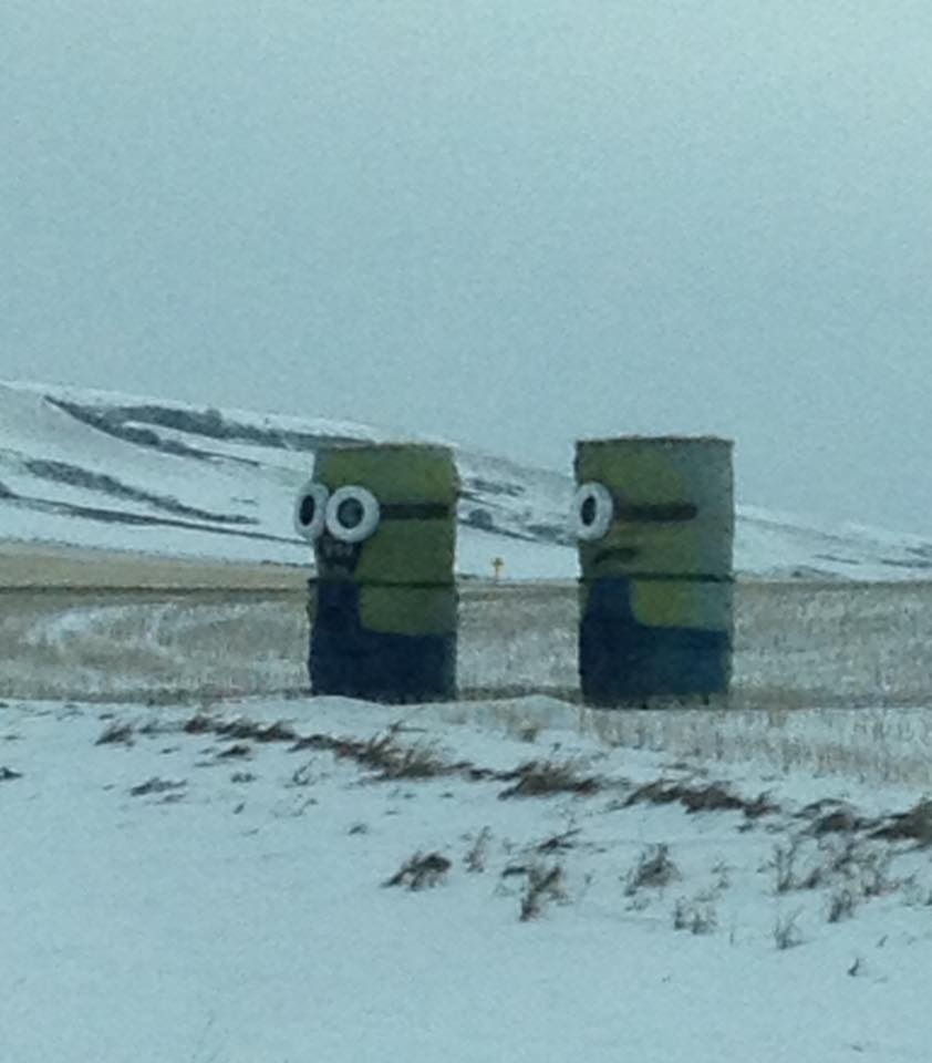 Two Minions in the snow