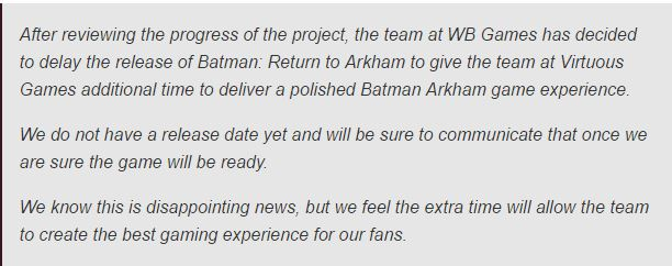 Batman games for PS4 and Xbox One being remastered.