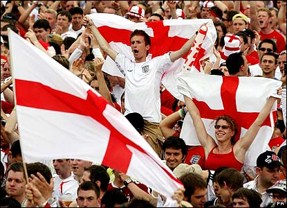 England football fans in team colours
