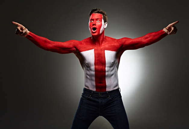 England football fan face body paint