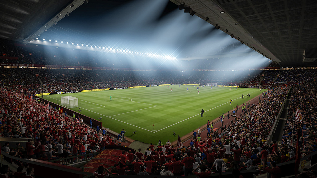 Old Trafford appears in FIFA 17, powered by the Frostbite engine