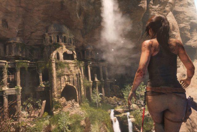 "The ""Tomb Raider"" protagonist, Lara Croft, facing an exotic tomb."